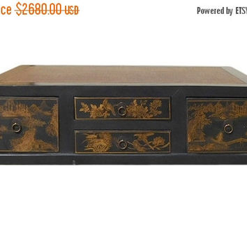 25% OFF SALE Chinese FuJian Style Golden Graphic Swing Drawer Coffee Table cs1307E