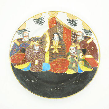 Vintage Satsuma plate with hand-painted immortals in black gold blue white red - Japanese decorative plate