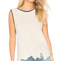 Free People Vintage Ringer Muscle Tank in Cream