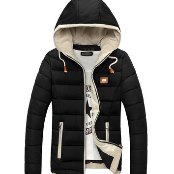 Thick Warm Hooded Winter Jacket Men Windproof Slim Fit