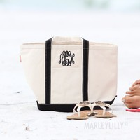 Monogrammed Large Canvas Tote Bags   Marleylilly