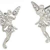 Beautiful Silver Tone Fairy Stud Earrings with Clear Austrian Crystals for Girls, Teens, Women