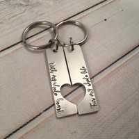 """With my whole heart for my whole life""  Couples Keychain Set"