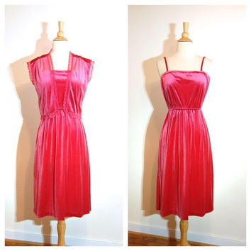 Pink Velvet Dress Matching Shrug Lace Detail Spaghetti Strap Fancy Lingerie Dress size Small