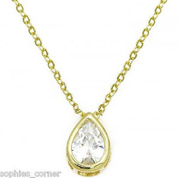 1.5 ct. Pear Shaped Created Diamond Bezel Solitaire Pendant Necklace ~ YGP