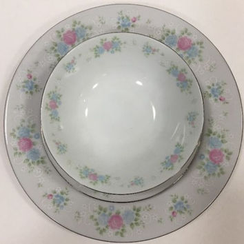 Vintage Prestige China Garden Pink/Blue Roses On White Platinum Trim 20 Pcs. Set