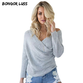 BONGOR LUSS Autumn Winter Sweater Women Sexy Wrapped V-Neck Long Sleeve Knitwear Pullover Casual Solid Slim Women Tops 7 Color