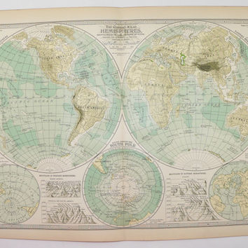 1901 Vintage World Map, Western Hemisphere, Eastern Hemisphere Map, South Pole, Antique Map of World Globe, Birthday Gift Old World Wall Art