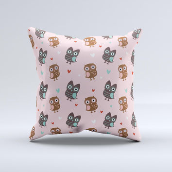 Subtle Pink and Blue Vector Love Owls  Ink-Fuzed Decorative Throw Pillow
