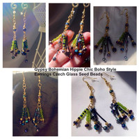Handmade Gypsy Style - Bohemian - Hippie - Chic -Boho Beaded Earrings with Czech Glass Seed Bead Earrings Sparkles Beautifully OOAK
