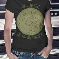 Star Chart Constellation Shirt - Women tshirt - Slim Fit - Black - Coldplay