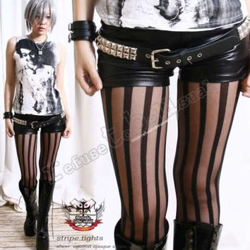 PUNK ROCK GOTH EMO Tights/Pantyhose OPAQUE+SHEER STRIPE