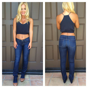 Long Story Short Crop Top - NAVY