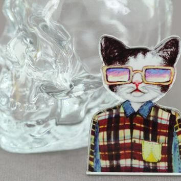 Hipster Cat Brooch : Four Eyed Tabby Cat with Oversized Glasses and Suspenders, Pin, B