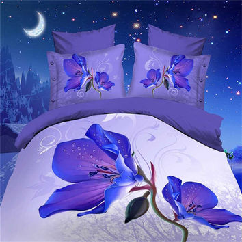 2016 Hot 3D Cotton Bedding sets/Bed set/Bed clothes Linen 4 pcs (duvet cover+flat sheet+2 pillowcase) Queen size Free Shipping