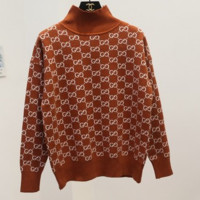 GUCCI autumn and winter new high-necked knit sweater g letter g Khaki