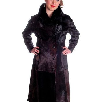 Vintage Black-Brown Shades Pony Fur Trench Coat 1970s Provenance Size 10-12