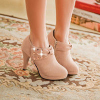 Bowknot Rivet Ankle High Heels Boots