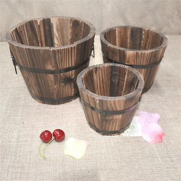 Wooden Round Barrel Planter Flower Pots Home Office Garden Wedding Decor NB0427