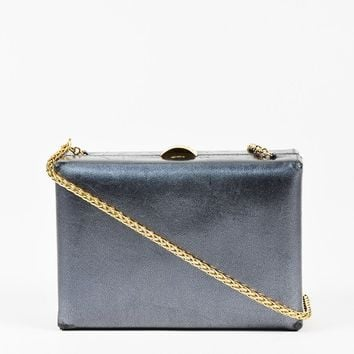 Chanel Metallic Gray & Gold Tone Leather Chain Strap Box Shoulder Bag