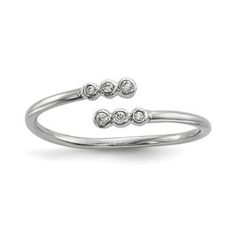Sterling Silver Petite CZ Adjustable 6-Stone Ring