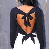 New women's long - sleeved back sexy bow top