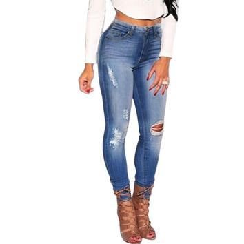 New Hot Fashion Ladies Cotton Denim Pants Stretch Womens Bleach Ripped Knee Skinny Jeans Denim Jeans For Female