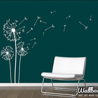 Dandelion Wall Decal - Wall Stickers Blowing Away In The Wind Vinyls Flower Nature Living Room Bed Room