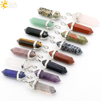 CSJA 1pcs Bullet Shape Natural Stone Pendant Real Amethyst Women Chakra Gem Stones Quartz Crystal Pendants Summer Jewelry E001