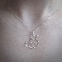 Little Fox Charm Necklace, Sterling Silver Fox Pendant and Chain Necklace