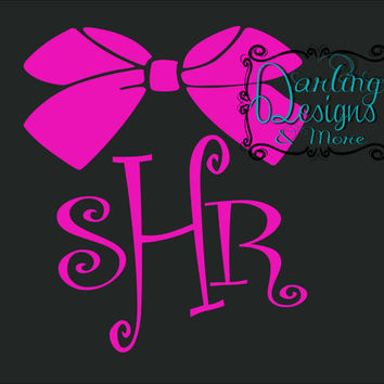 Monogrammed Car Decal with Bow