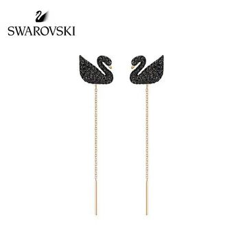 Swarovski crystal masonry Swan Ear line long earring stud New arrival Electroplating of 18 K gold with retro earrings stud gold