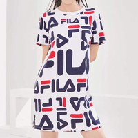 """Fila"" Women Casual Multicolor Letter Print Short Sleeve T-shirt Dress"