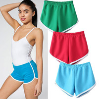 Hot Brand Elastic Waist Pattern A Cotton Short Pants 10 Candy Color Women Sport Shorts Running Gym Fitness Summer Women's Shorts