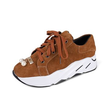 Genuine Leather Lace Up Pearls Platform Wedges Sneakers Shoes for Women 6150
