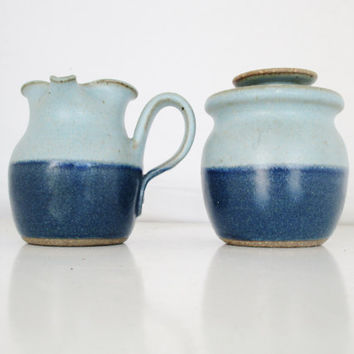 Ceramic Cream and Sugar Bowl Set Vintage Clay Creamer and Sugar Bowl Set Pottery Cream and Sugar Set Blue Glaze Stoneware Coffee Serving Set