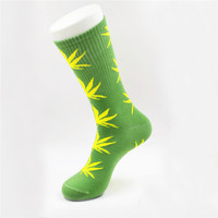 Marijuana Weed Leaf Printed Cotton Long Socks (Green - Yellow)