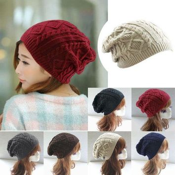 VOND4H Women New Design Caps Twist Pattern Women Winter Hat Knitted Sweater Fashion beanie Hats For Women 6 colors