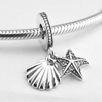 Fits for Pandora Beads Bracelets Tropical Starfish & Sea Shell Charms 100% 925 Sterlin
