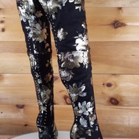 Lexi Black Floral Studded Thigh High Pointy Toe High Heel Boots 6.5