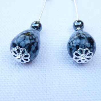 Drop Style Earrings, Swarovski Crystals and Pear or Tear Shaped Snowflake Obsidian