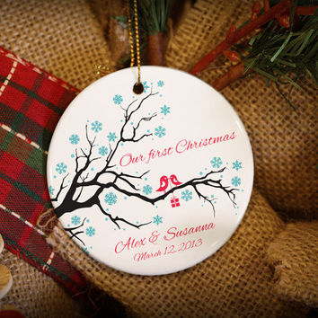 Customizable Christmas Ornament: Love Birds on a Branch