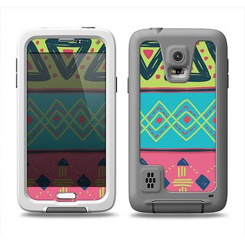The Vector Sketched Yellow-Teal-Pink Aztec Pattern Samsung Galaxy S5 LifeProof Fre Case Skin Set