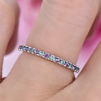 Amethyst Emerald Wedding Band Half Eternity Anniversary Ring 14K White Gold