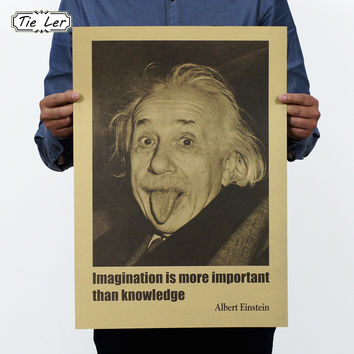 TIE LER Albert Einstein Poster Vintage Retro Paper Wall Stickers Imagination Is More Important Than Knowledge