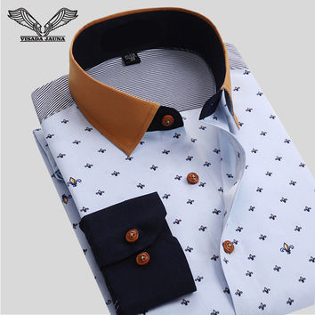 VISADA JAUNA Men Shirt Business Floral Cotton Design Long Sleeve Casual Brand Clothing High Quality Tops Tees Male Shirts N766