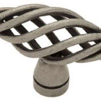"Brainerd® PN0528V-AP-C7 Small Bridcage Oval Knob, 2"", Antique Pewter"