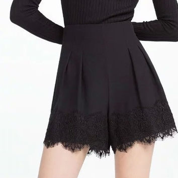 Black High Waist Pleated Lace Hemline Short