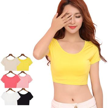 Solid Summer Women Crop Top Female Tank Tops Sexy Short Women's T-Shirt With Short Sleeve 6 Colors ssk013