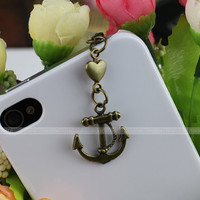 3.5 mm bronze anchor series dustproof plug for iphone 4 s, iphone 4, iphone 3 gs, iPod Touch 4, HTC, samsung, electricity, Nokai SONY